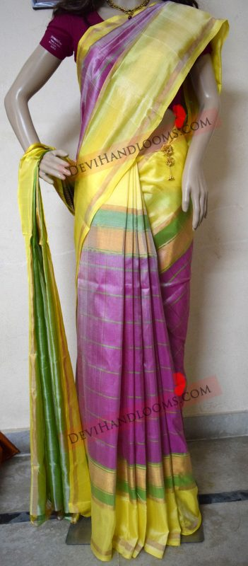 uppada-yellow-color-border-with-pink-color-running-saree-front-view