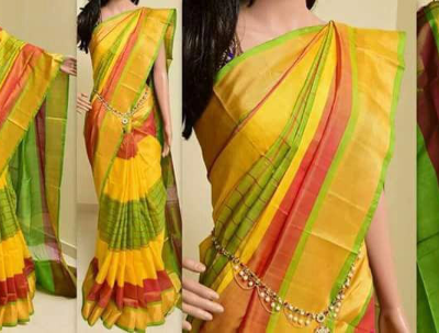 Uppada Yellow with Green Color Checks Silk Saree with Gold color border-1
