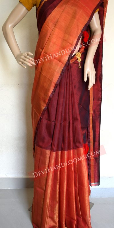 uppada-deep-maroon-off-tisue-saree-front-view