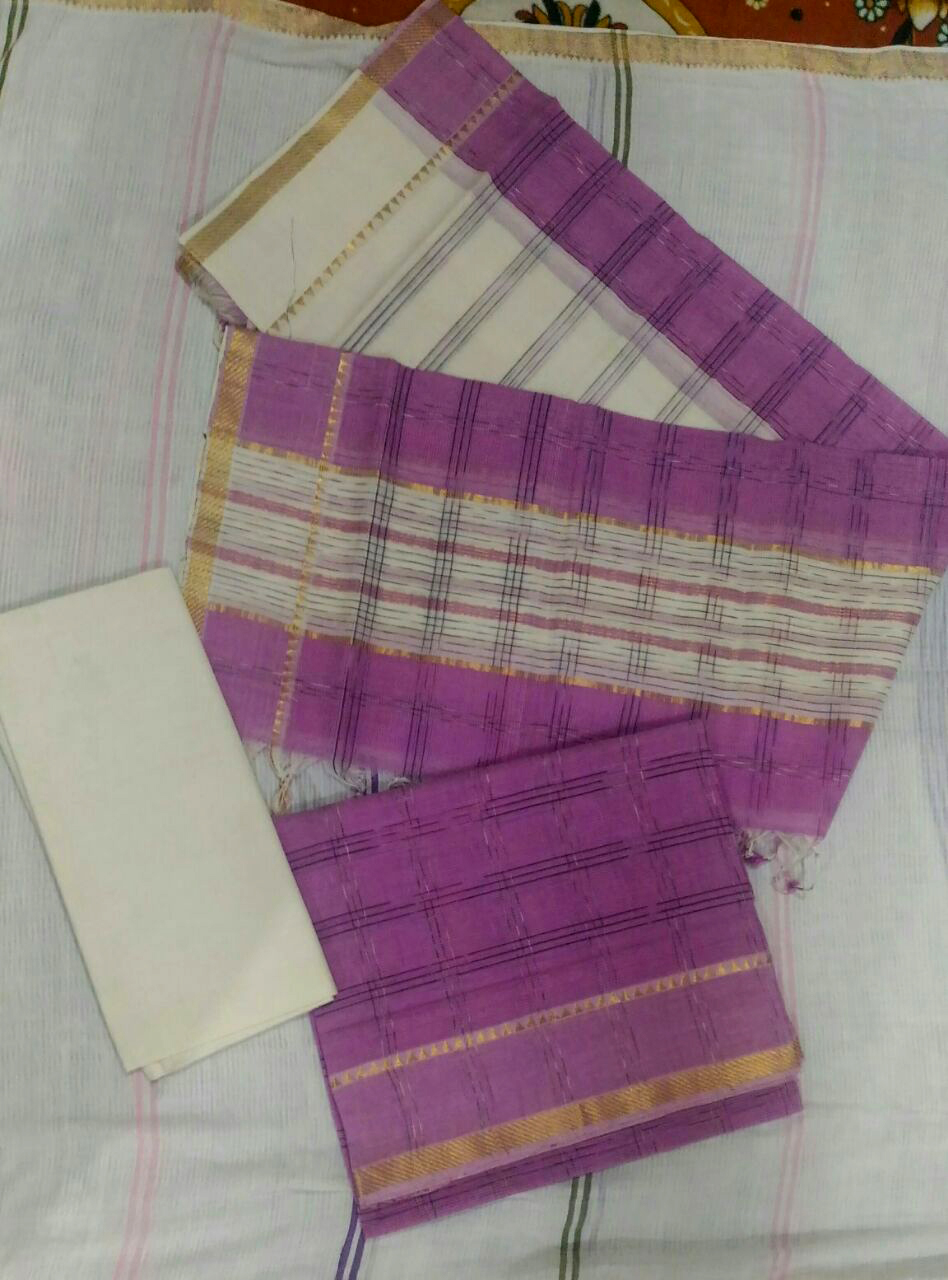 Violet Color Mangalagiri Cotton dress material