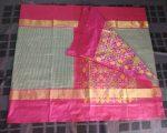 black-and-white-small-checked pochampally silk saree-234