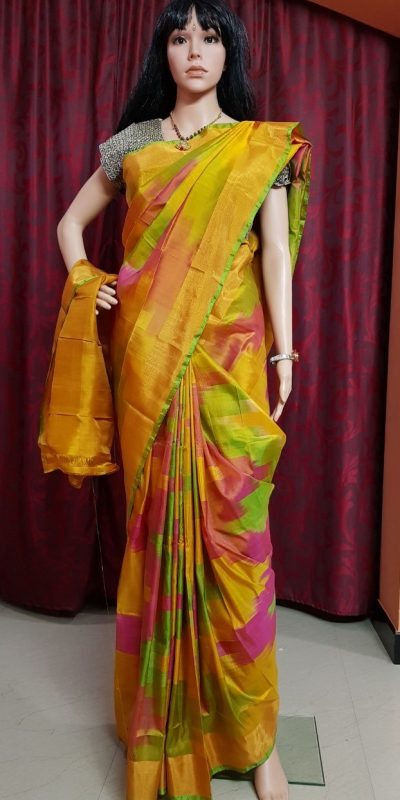 Uppada Multi Color ikkath design woven silk saree with blouse