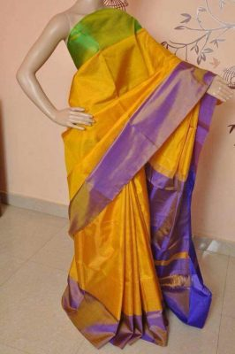 Uppada Mustard Yellow Full Tissue silk saree with two color borders1