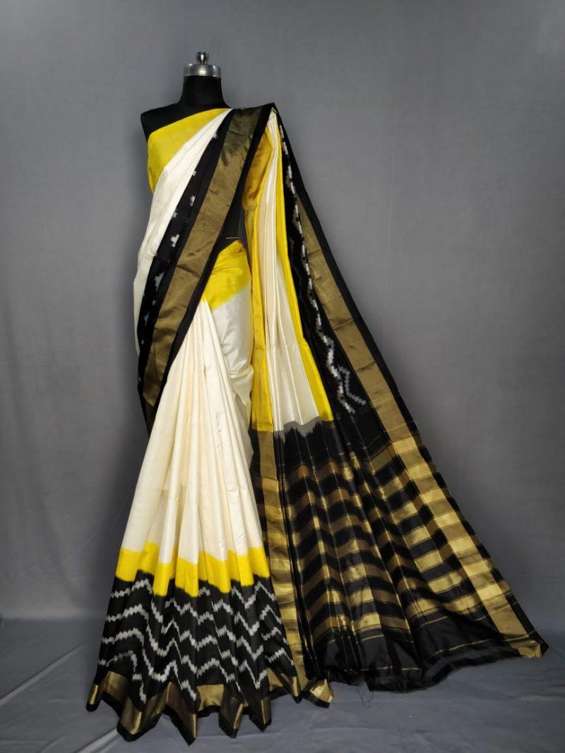 Multi Color pochampally ikkath silk saree