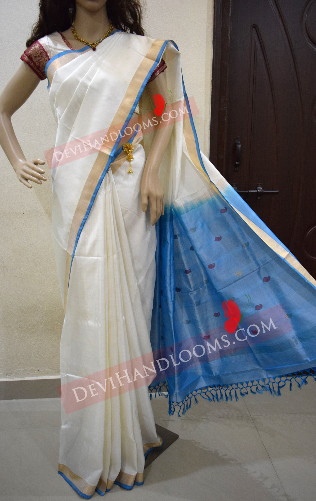 white-color-uppada-jamdani-with-blue-color-pallu-front-view