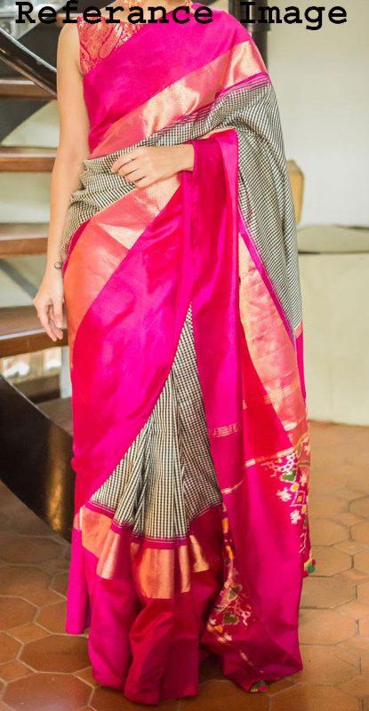 black-and-white-small-checked pochampally silk saree-2