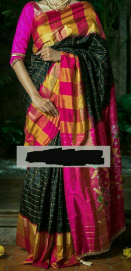 black checks pochampally silk saree