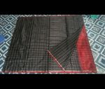 black silver chcks silk saree-123