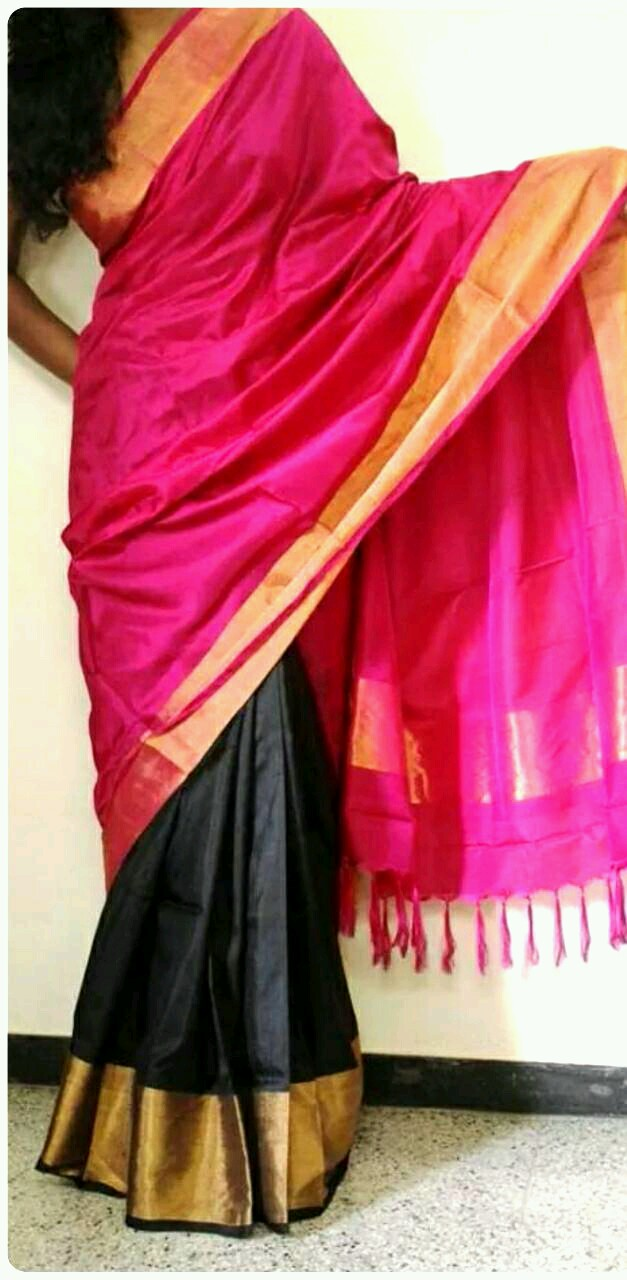 black with rani pink half and half silk saree