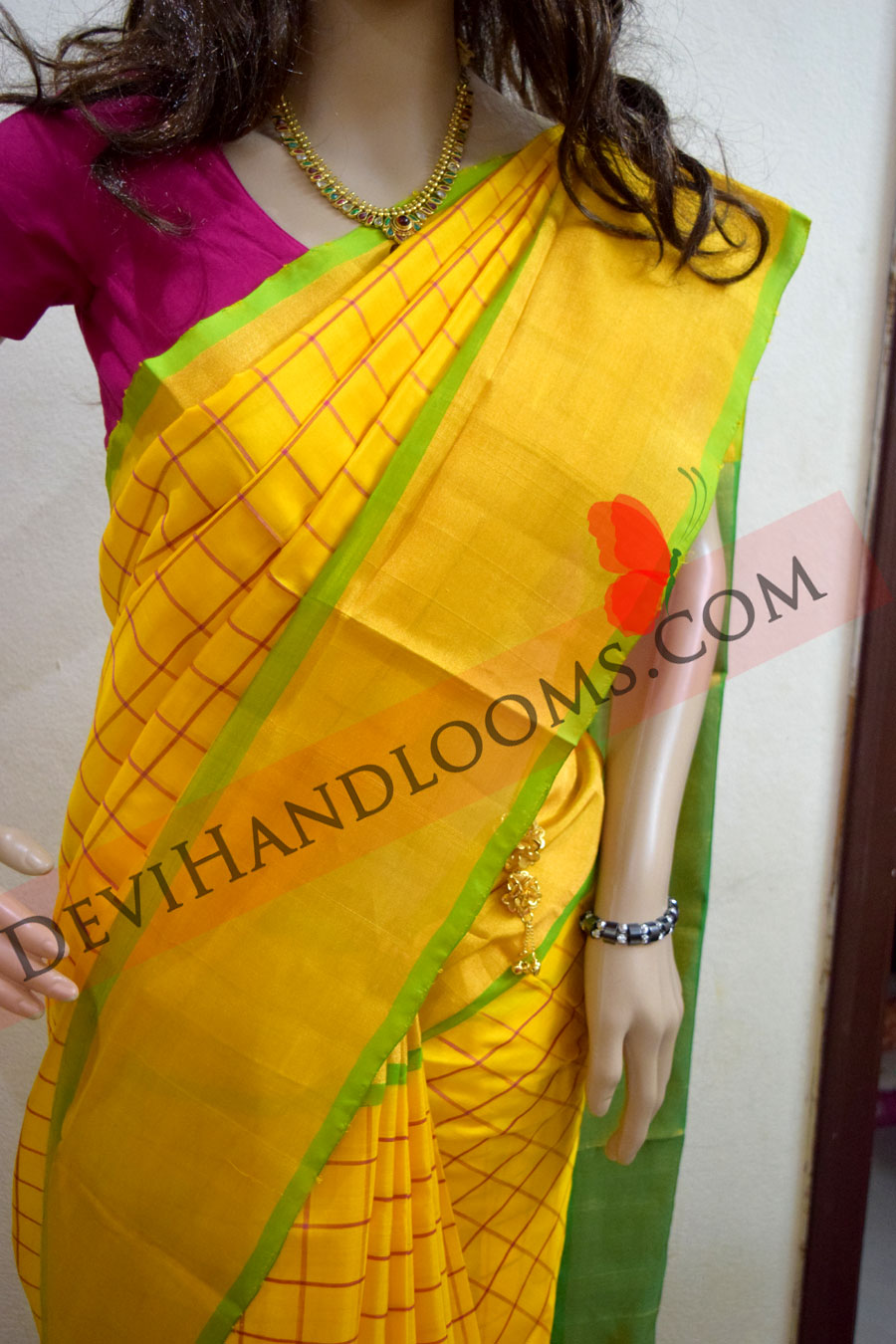 uppada yellow color small checked silk saree