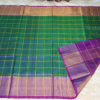 Uppada SeeGreen color with double checks Big Border Silk Saree