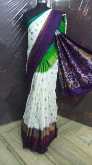 Pochampally white color Ikkath Small design woven Silk saree