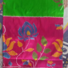 Green Color pochampally ikkath silk saree-2