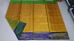 Uppada Mustard Yellow Full Tissue silk saree with two color borders12