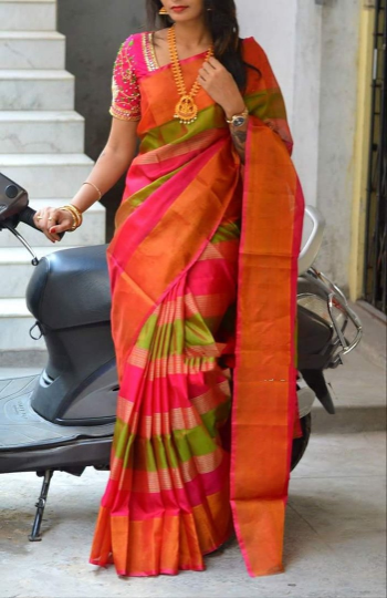 Uppada multi Color Horizontal lines silk saree