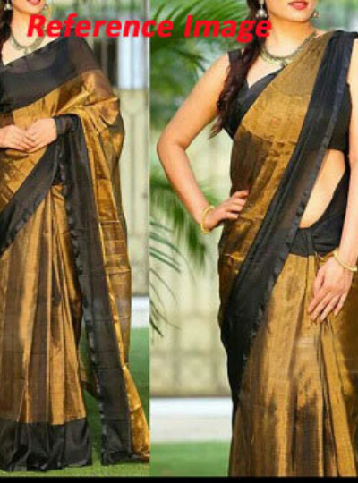 Uppada Black with Gold color full tissue Silk Saree