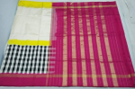 Pochampally Ikkath Off white Half and half black checks silk saree