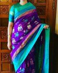 purple color pochamally ikkath silk saree