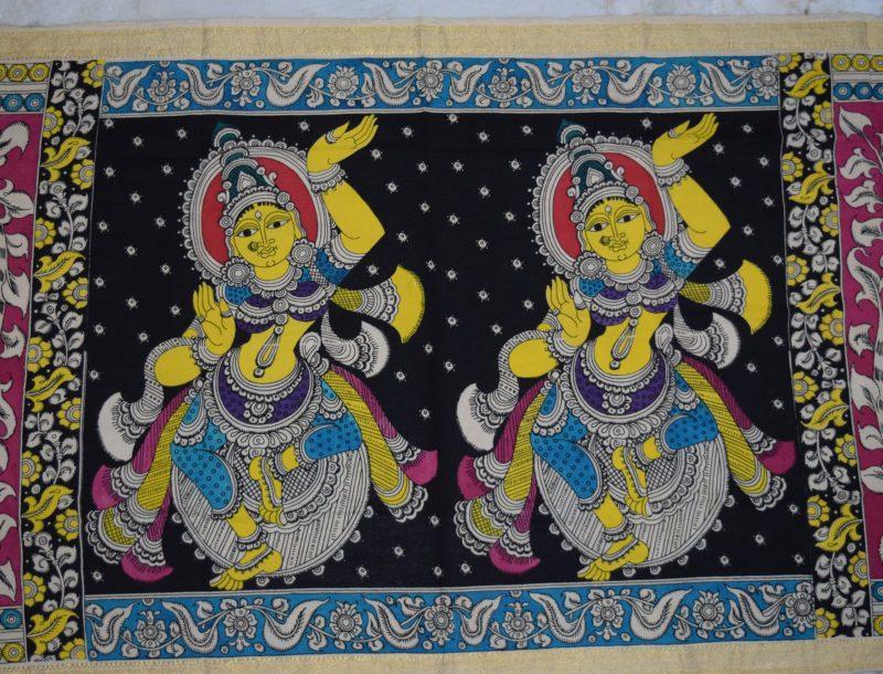 kalamkari hand painted cotton dupatta-7-2