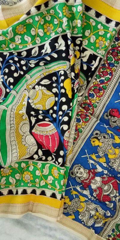 kalamkari hand painted mangalagiri Cotton dupatta-10