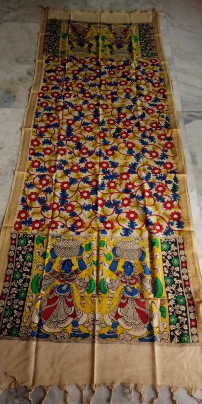 kalamkari hand painted mangalagiri Cotton dupatta-11