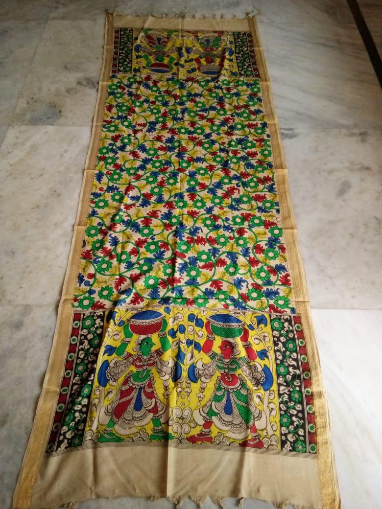 kalamkari hand painted mangalagiri Cotton dupatta-12