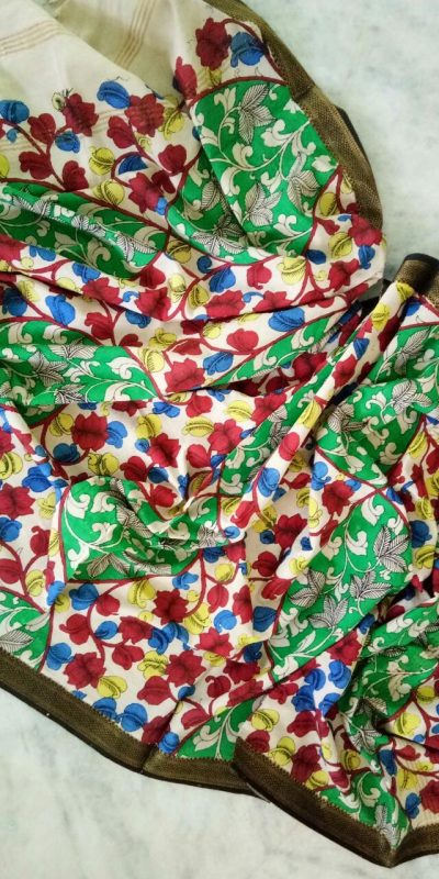 kalamkari hand painted mangalagiri Cotton dupatta-13