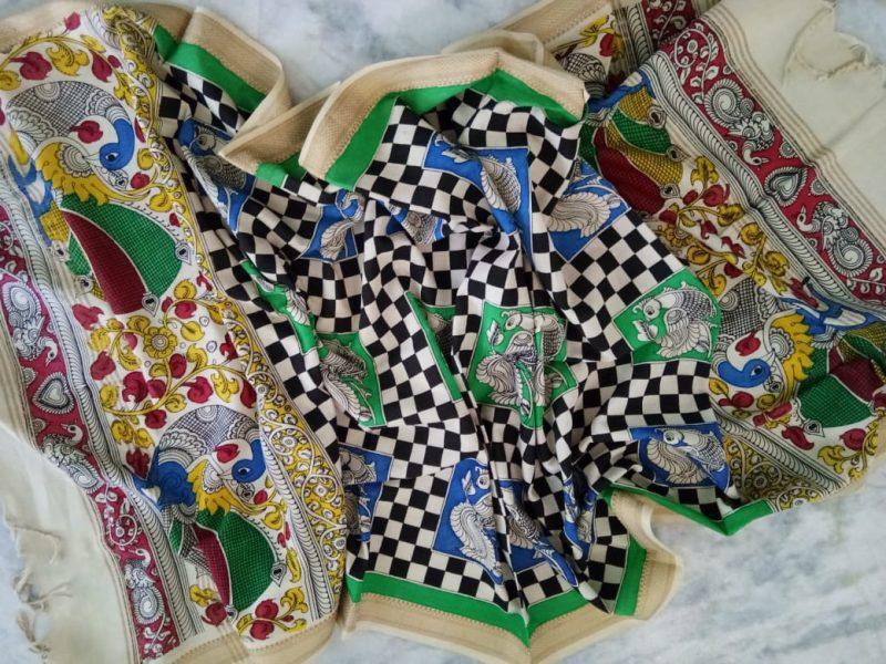 kalamkari hand painted mangalagiri Cotton dupatta-14