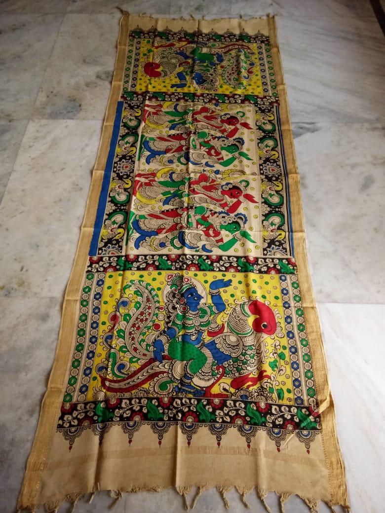 kalamkari hand painted mangalagiri Cotton dupatta-16