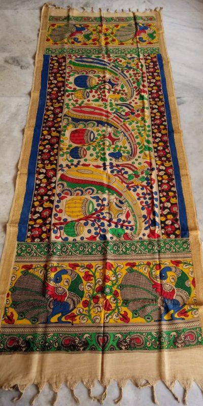 kalamkari hand painted mangalagiri Cotton dupatta-17