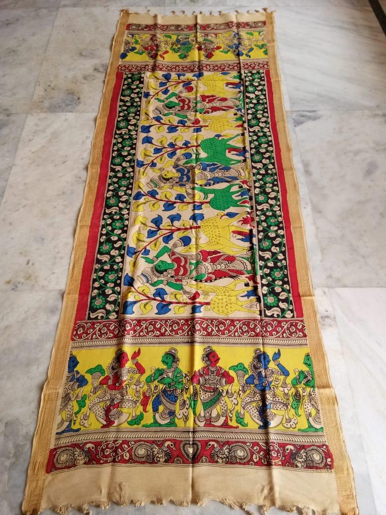 kalamkari hand painted mangalagiri Cotton dupatta-18