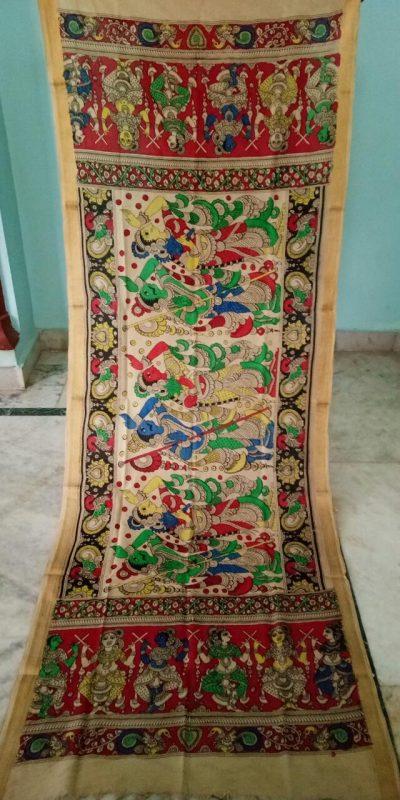kalamkari hand painted mangalagiri Cotton dupatta-2