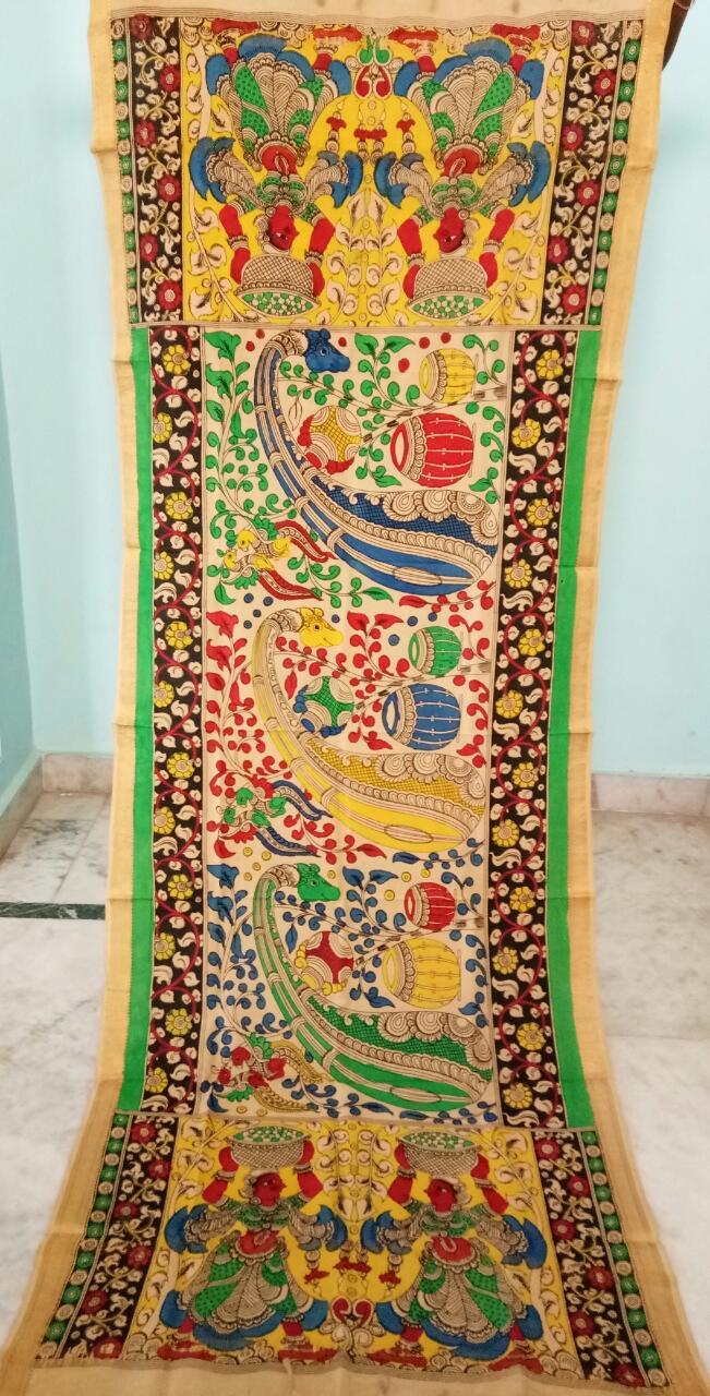 kalamkari hand painted mangalagiri Cotton dupatta-20