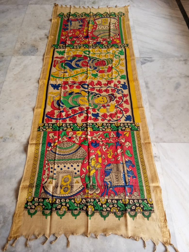 kalamkari hand painted mangalagiri Cotton dupatta-21