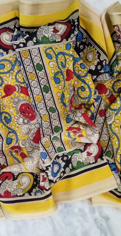 kalamkari hand painted mangalagiri Cotton dupatta-22