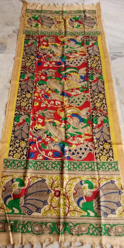 kalamkari hand paintaed mangalagiri Cotton dupatta-24