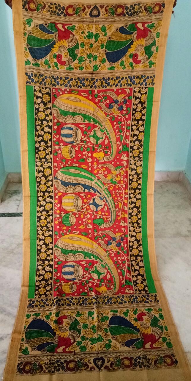 kalamkari hand painted mangalagiri Cotton dupatta-25