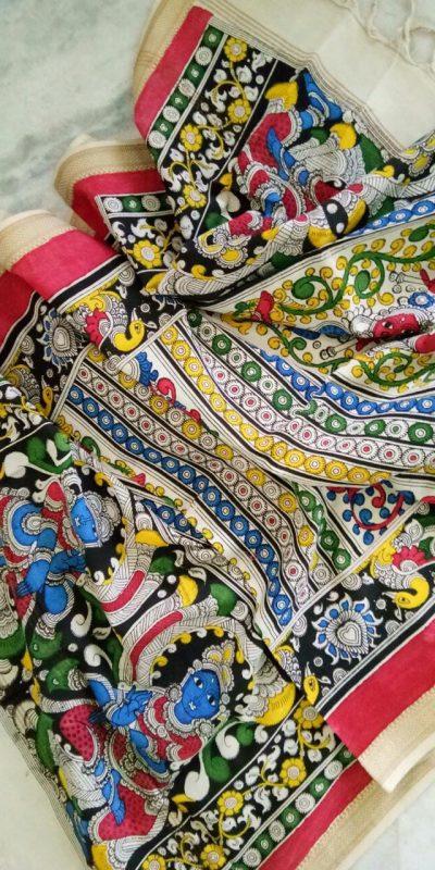 kalamkari hand painted mangalagiri Cotton dupatta-27