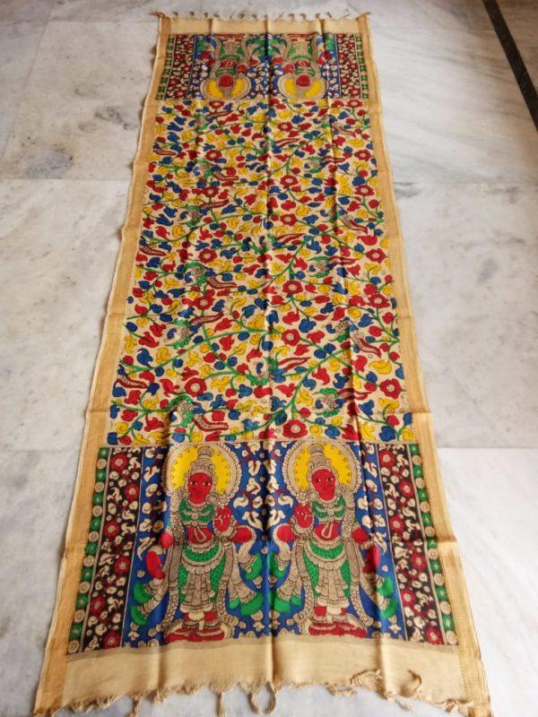 kalamkari hand painted mangalagiri Cotton dupatta-3