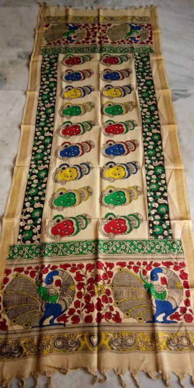 kalamkari hand painted mangalagiri Cotton dupatta-4