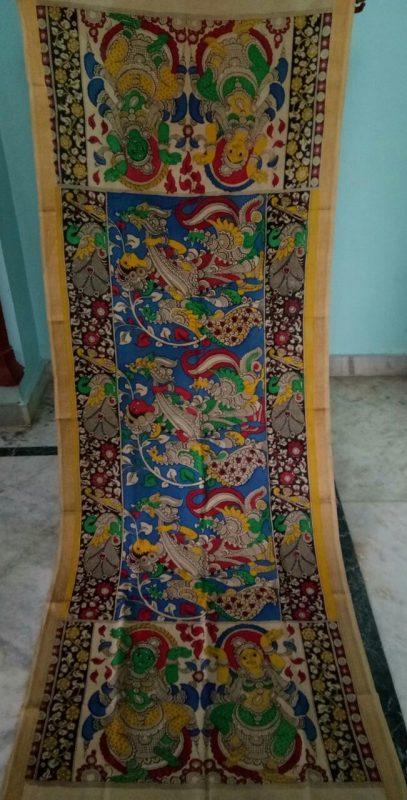 kalamkari hand painted mangalagiri Cotton dupatta-6