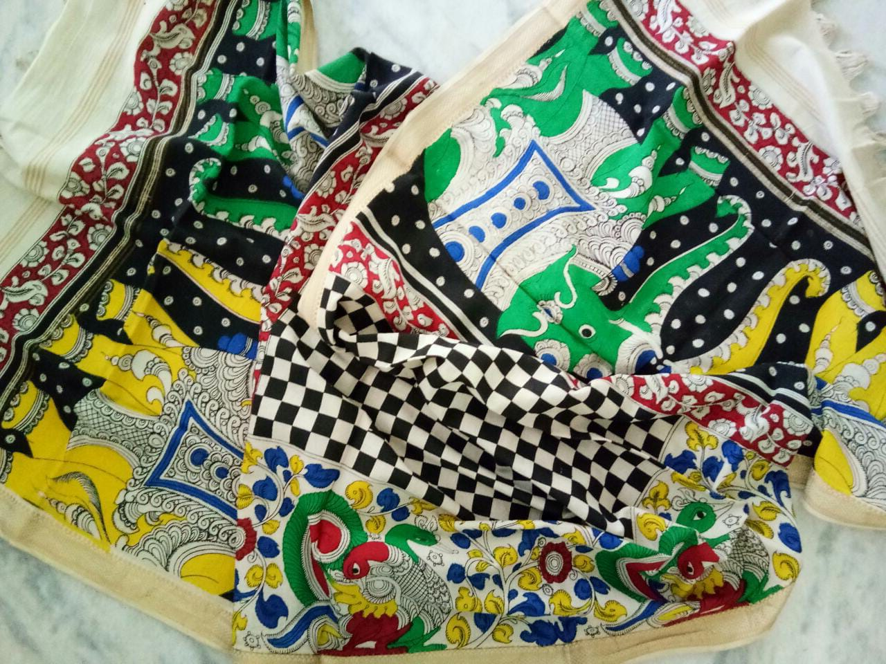 kalamkari hand painted mangalagiri Cotton dupatta-9