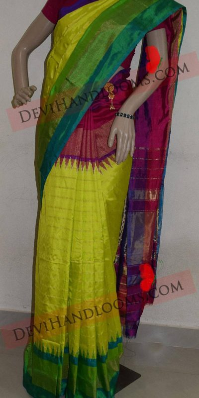 lemon green pochampally silk saree-2