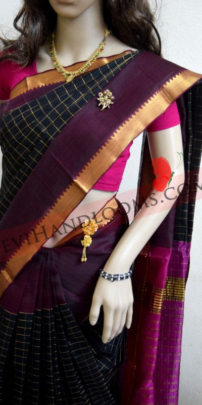 mangalagiri-balck-checks-silk saree