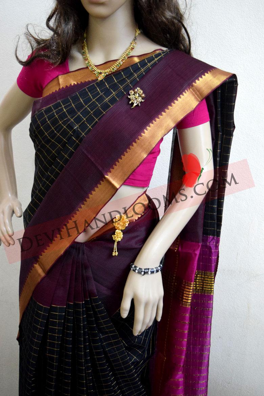 mangalagiri-balck-checks-silk saree