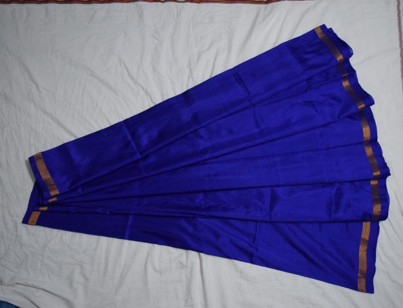 navy blue uppada plain silk saree-1