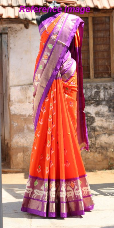 orange Color Pochampally Ikkath Silk saree