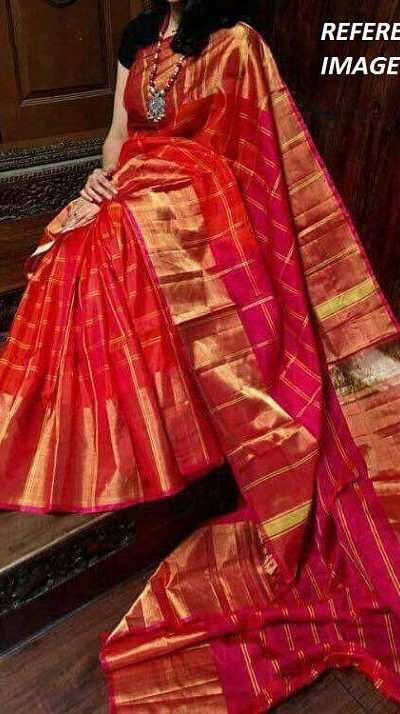 orange big checks silk saree
