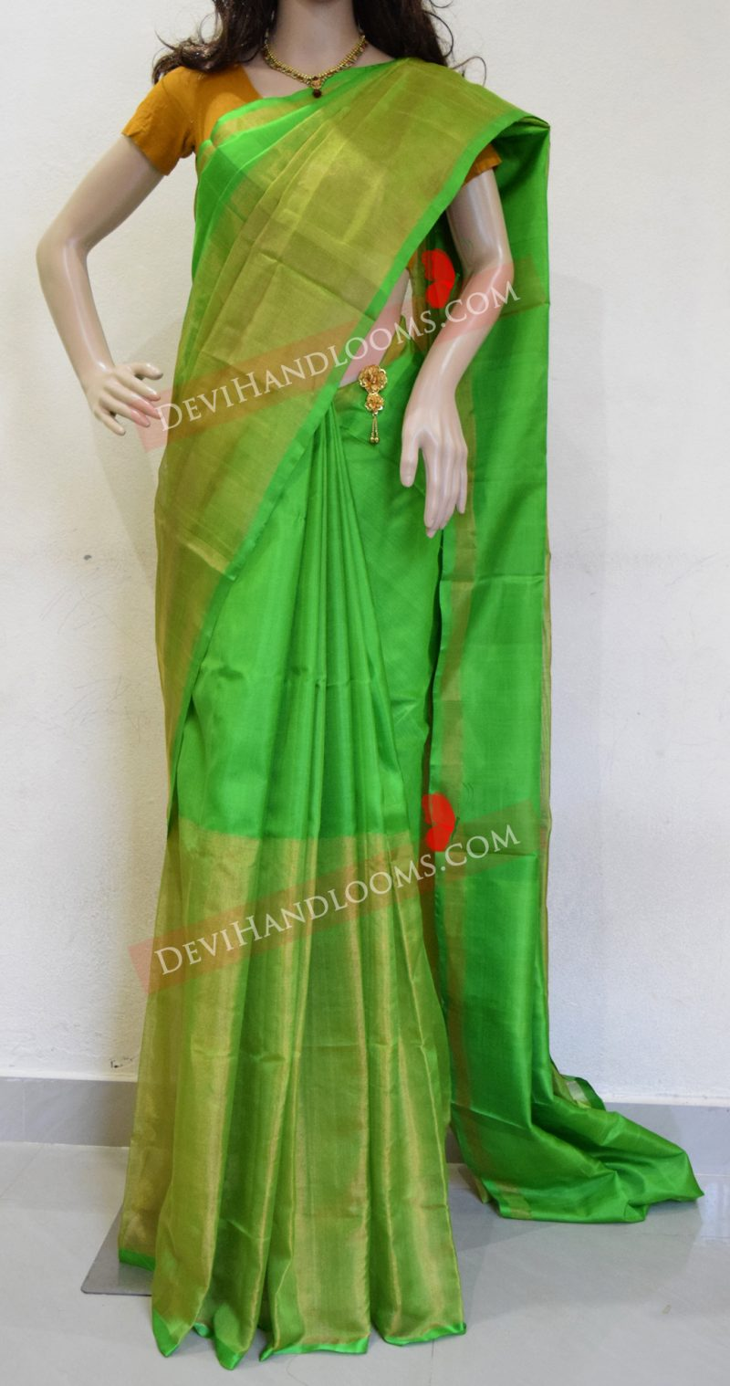 parrot-green-color-half-tissue-silk-saree-front-view
