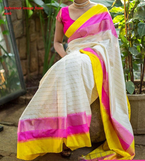 pochampally off white with pink yellow border-1